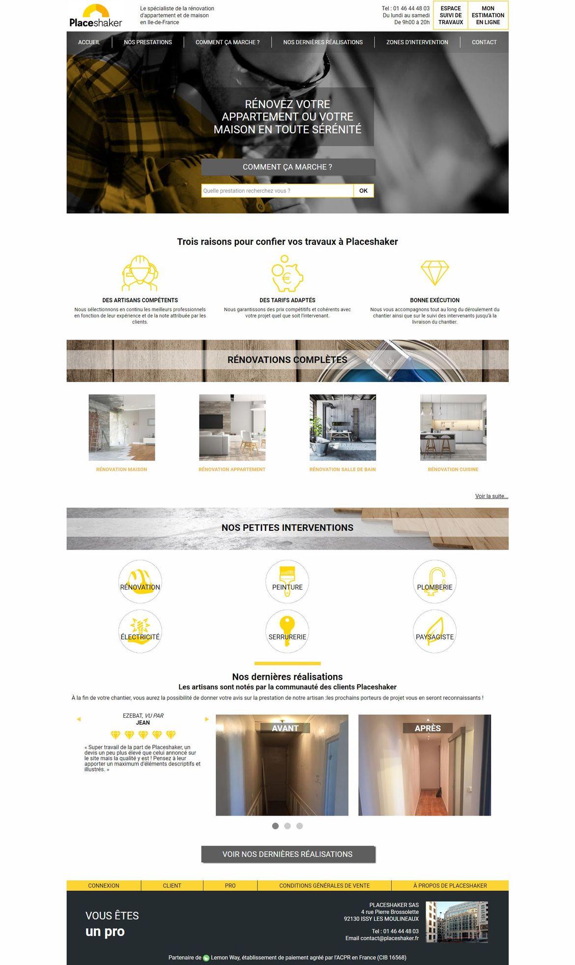 Page d'accueil complète